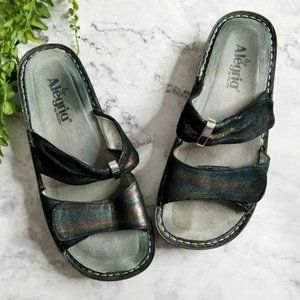 Alegria Karmen Blue Rainbow Double Strap Sandals